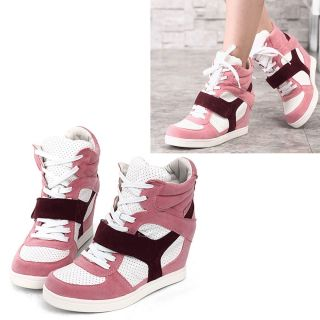 New Womens Shoes Fashion Sneakers High Top Velcro Hidden High Heels Us