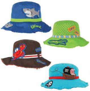 NEW Baby Toddler Hat Boys Beach Bucket Sun Hat SHARK Alligator CRAB 2T