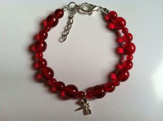 Anorexia (Ana) Support Red Bracelet  Dragonfly Solitaire .925, Lobster