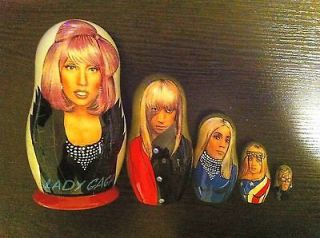 Lady Gaga * Russian Nesting Doll * Hand Made * 5 Pcs / 6 in