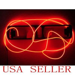 Red 10Ft Neon Light Glow EL Wire Rope Tube Car Bike Bar Dance Party