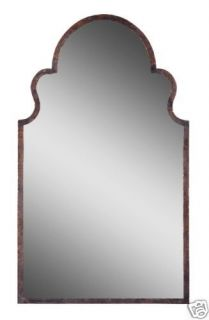 Arch Shaped Dark Brown Gold Metal Frame Wall Mirror