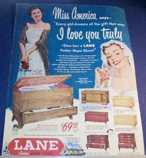 1950 Lane Cedar hope chest BRIDE Ad~MISS AMERICA~Jacque Mercer