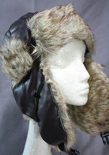 Cousin Eddie Christmas Vacation hat BROWN faux leather RABBIT fur
