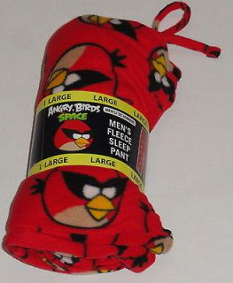 ANGRY BIRDS SPACE MENS FLEECE LOUNGE PANTS SIZE MEDIUM PAJAMAS