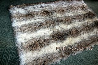 Faux Fur Pelt Rug Gray Brown Cream Exotic Bear Skin Accent Rug Soft