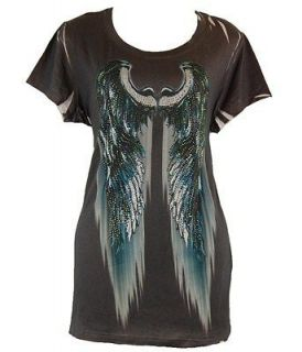 New Rhinestone Bling Angels Wing Graphic Western Top JUNIORS Plus