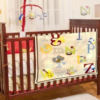 Animal Print Unisex 4pc Cheap Baby Boys/Girls Nursery Crib Bedding Set