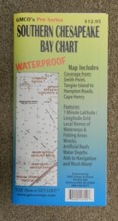GMCO Pro Series Southern Chesapeake Bay Waterproof Fishing Chart Map