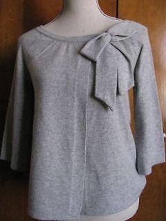 New w/tags Aqua Womens 100% Cashmere Gray Bow Detailed Cardigan Sz