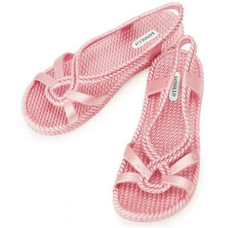 New Womens Aqua Summer Jelly Pretty Beach Sandals Shoes Pink US 7.5