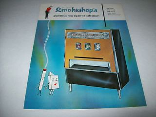 SMOKESHOP VINTAGE ORIGINAL CIGARETTE VENDING MACHINE FLYER BROCHURE
