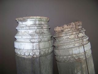 Antique Wood Column Architectural salvage , Floral Detail, 1 of 2~ 5ft