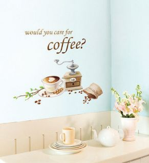 Coffee Beans Adhesive Removable WALL Home Decor Accents Stickers