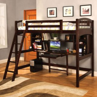 Solid Wood Espresso Finish Twin Size Loft Bed w/ Mattress