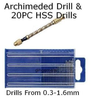 20PC Micro HSS Mini Drill & Archimedes Twist Drill Jewelers Watch