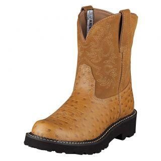 Ariat Womens Fatbaby Cowboy Western Boots Cognac Ostrich Print