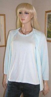 Sag Harbor 2 Pc Twinset Aqua Sleeveless Top Button Cardigan Sweater L