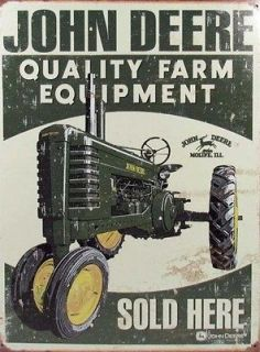 JOHN DEERE FARM EQUIPMENT SOLD HERE VINTAGE EFFECT RETRO STYLE METAL