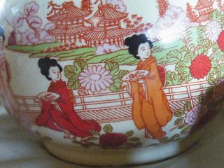 Japanese Geisha Girls Ceramic hand painted tea set bamboo wrapped