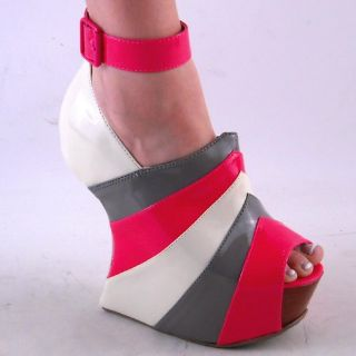 NEW WOMENS PINK GRAY WHITE HIGH WEDGE HEEL PEEPTOE PUMP SIZE 8