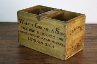 VINTAGE WOODEN CRATE TRUG BOX INDUSTRIAL PLANTER M66 CARAWAY SEED
