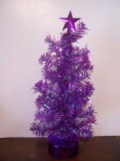 MINI PURPLE LIGHTED REVOLVING CHRISTMAS TREE DECORATION