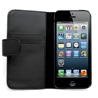 LEATHER FABRIC BLACK PHONE WALLET POUCH COVER CASE FOR Apple iPhone 5