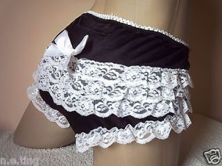 Cute Sissy French Maid Lolita Black Nylon Satin Ruffle Lace Frilly