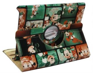Leather Case Smart Cover Stand / Green Mickey Mouse For iPad 2