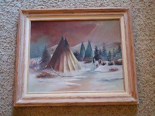 ART ORIGINAL OIL PAINTING ON CANVAS Landscape Native American Teepee