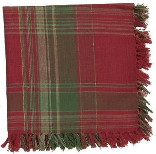 APRIL CORNELL JOYOFUL RED GREEN PLAID HOLIDAY CHRISTMAS 60X90