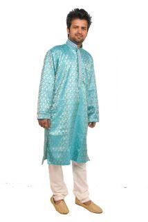 Blue Designer Mens sherwani kurta Silk hand beaded Salwar kameez 2pcs