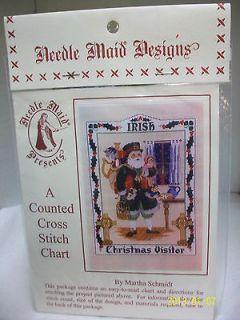 NEEDLE MAID COUNTED CROSS STITCH CHART IRISH CHRISTMAS VISITOR SANTA