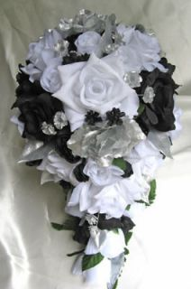Bridal bouquet wedding arrangements Silk flower BLACK WHITE SILVER