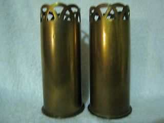 GERMANY WW1 1917 BRASS SHELL CASING TRENCH ART VASES.