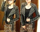 punk strong spike studded shoulder pu snake leather black cropped