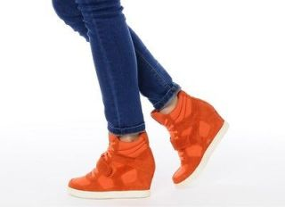 ASH Brand Womens Cool Orange High Heel Boots Wedge Sneakers Shoes New