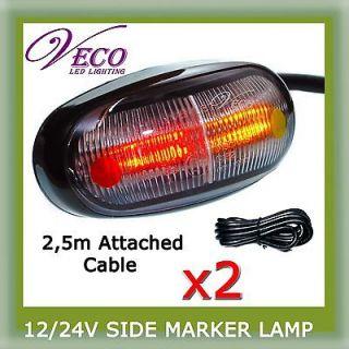 PAIR LED LIGHT SIDE MARKER CLEARANCE LAMP TRAILER TRUCK UTE 2.5m