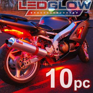10pc RED LED FLEXIBLE LED STRIP KIT MOTORCYCLE LIGHTS w Control Box
