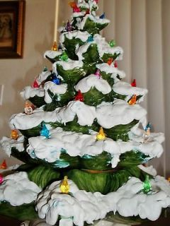 Vtg CERAMIC CHRISTMAS TREE Atlantic Mold LIGHTS 3 piece 20 TALL~Green