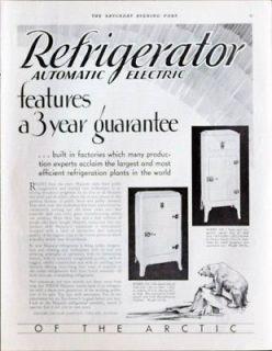 1931Automatic Electric Refrigerator vintage ad