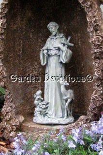 ST. FRANCIS W/ BUNNY DEER CROSS Outdoor Garden Yard Statue FASCINATING