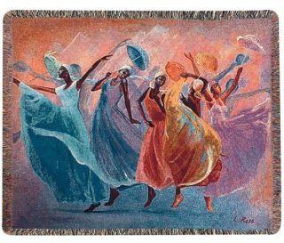 UMBRELLA DANCE AFRICAN AMERICAN WOMEN DANCING ART TAPESTRY THROW