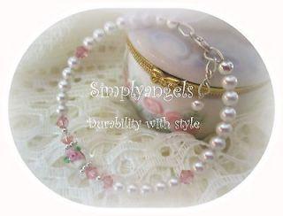 ~VICTORIAN ROSE swarovski pearl crystal childs baby girls bracelet