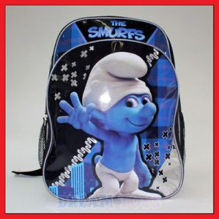 16 Smurfs Checkered Blue Backpack Boys School Book Bag