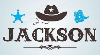 CUSTOM COWBOY SHERIFF Vinyl Wall Quote Word Boys Decal Boots Spurs Hat