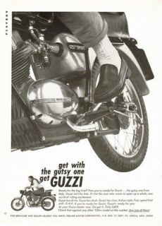 1966 Moto GUZZI 125 cc Sport ad, The Gutsy one From Italy. Guzzi Isn