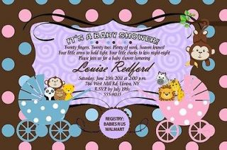 Baby Shower Invitations Jungle Monkey Carriage TWIN Boy Girl