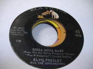 Rock 45 ELVIS PRESLEY WITH THE JORDANAIRES Bossa Nova Baby on RCA